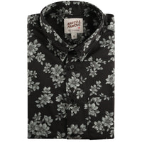 Short Sleeve Easy Shirt - Floral Sketch - Black - front collar view
