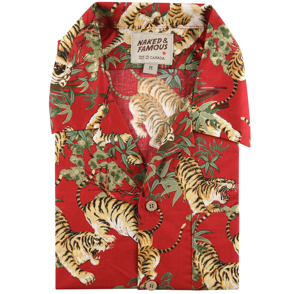 Aloha Shirt - Japanese Tigers - Red - front collar view