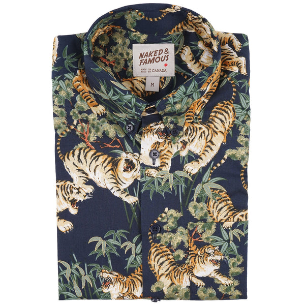 Short Sleeve Easy Shirt - Japanese Tigers - Navy - front collar view