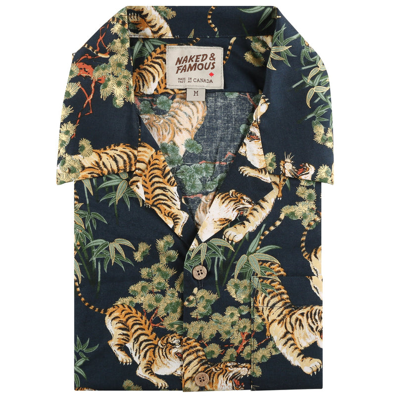 Aloha Shirt - Japanese Tigers - Navy - front collar view
