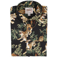 Short Sleeve Easy Shirt - Japanese Tigers - Black - front collar view