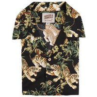 Aloha Shirt - Japanese Tigers - Black - front collar view