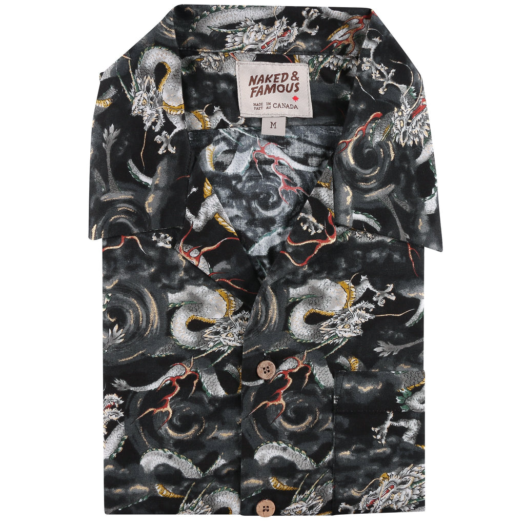Aloha Shirt - Japanese Dragons - Black - front collar view