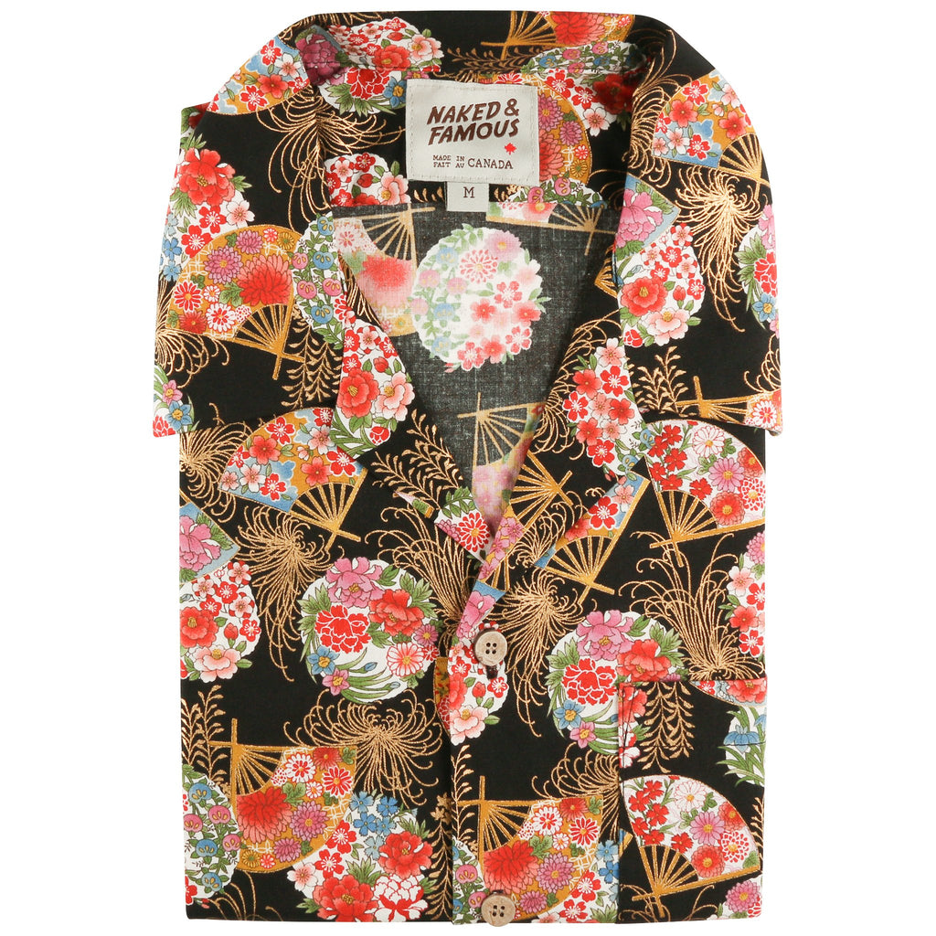 Aloha Shirt - Golden Floral Fans - Black - front collar view