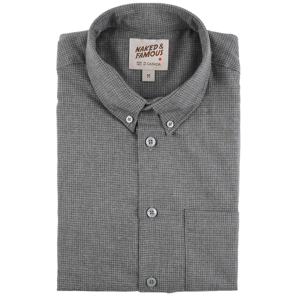 Easy Shirt - Heathered Houndstooth - Dark Grey - Folded