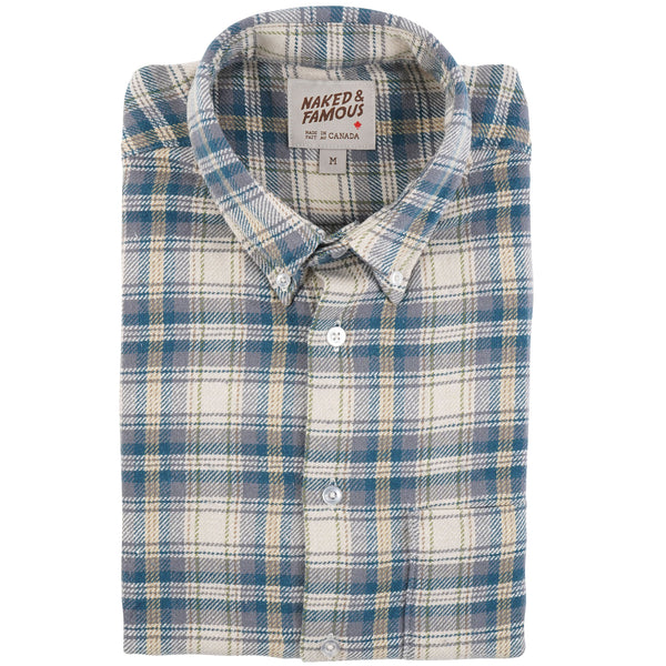 Easy Shirt - Cotton Silk Flannel - Cream - Folded