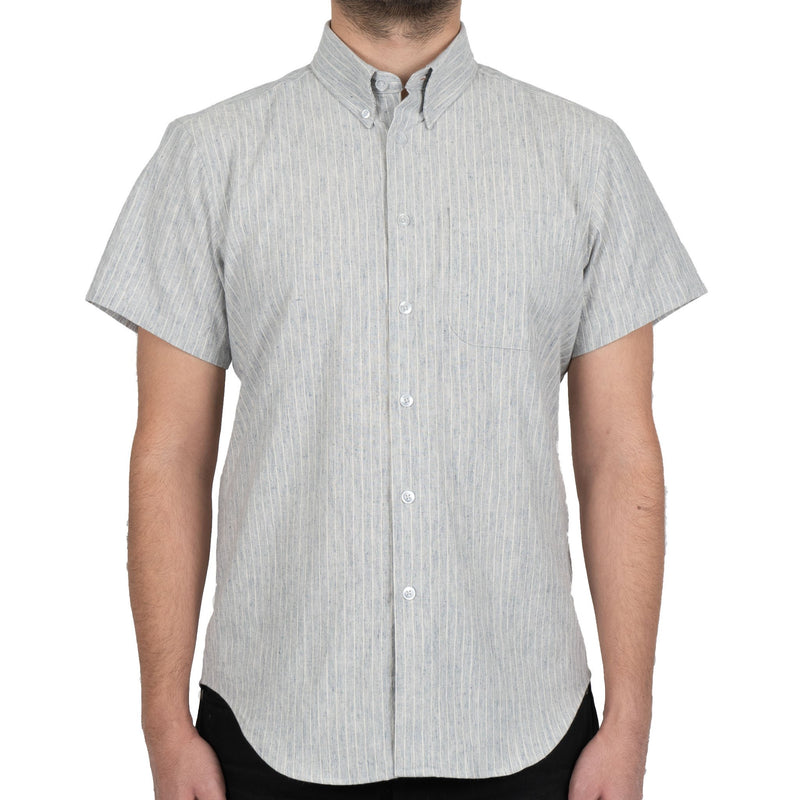 Short Sleeve Easy Shirt - Washed Stipe - Blue