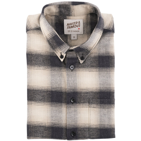 Easy Shirt - Brushed Plaid - Ivory - Folded