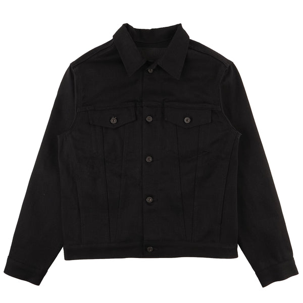 Stealth Pocket Denim Jacket - Solid Black Selvedge - front