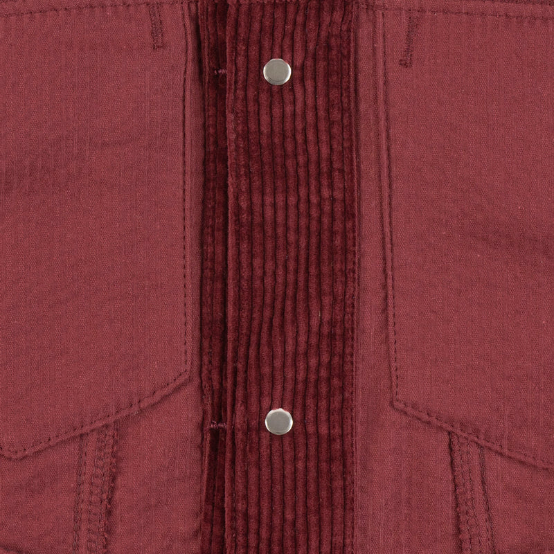 Denim Jacket - Seersucker Corduroy - Red - inside