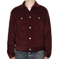 Denim Jacket - Seersucker Corduroy - Burgundy - front