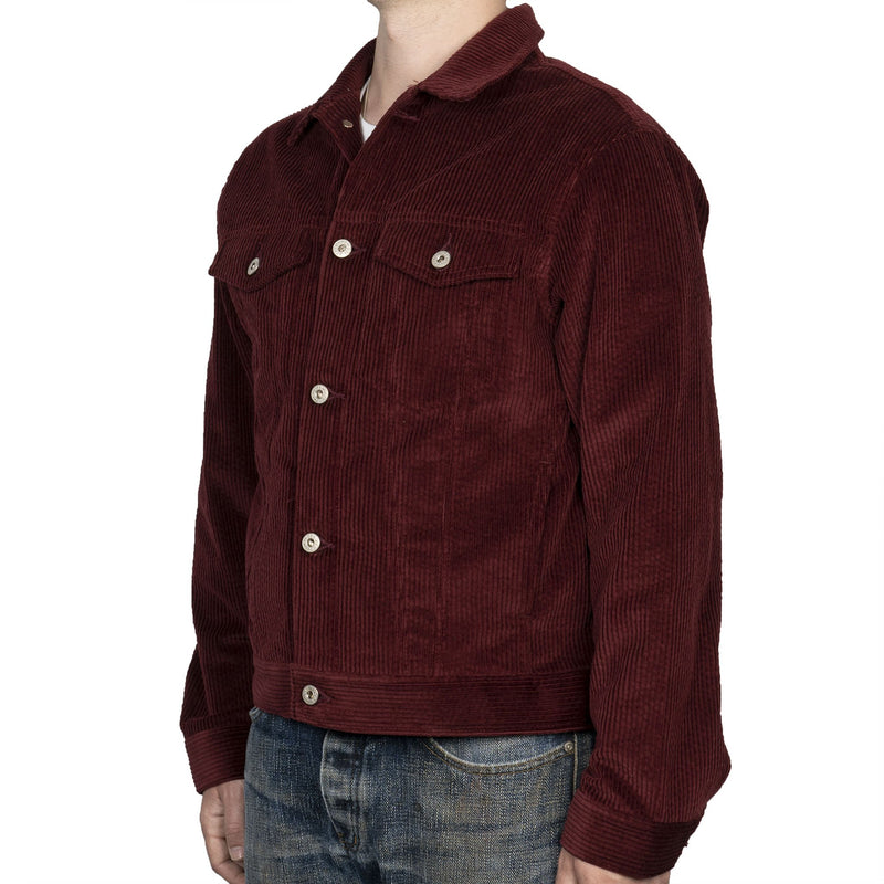 Denim Jacket - Seersucker Corduroy - Burgundy - side