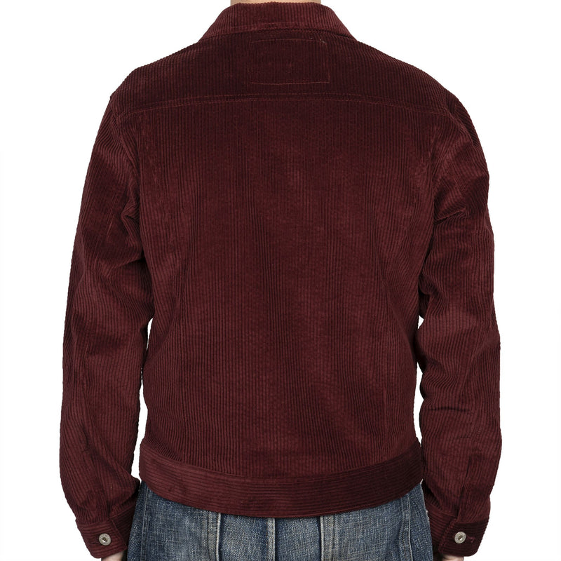 Denim Jacket - Seersucker Corduroy - Burgundy - back