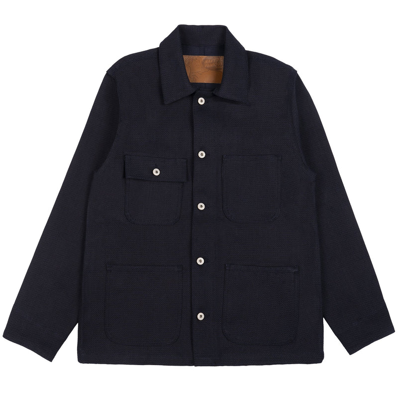 Chore Coat Unwashed - Indigo Basketweave - Front