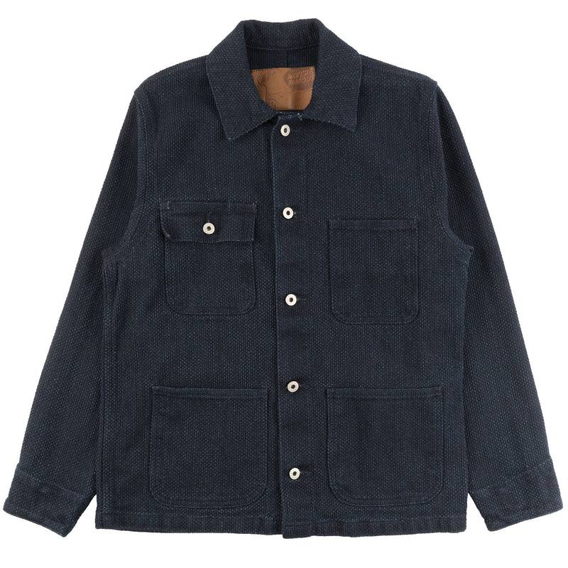 Chore Coat - Indigo Basketweave - front