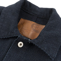 Chore Coat - Indigo Basketweave - collar