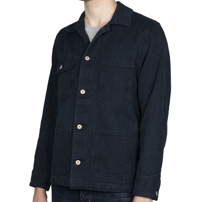 Chore Coat - Indigo Basketweave - side