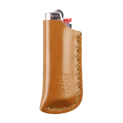 Shell Cordovan Leather Lighter Case - Tan