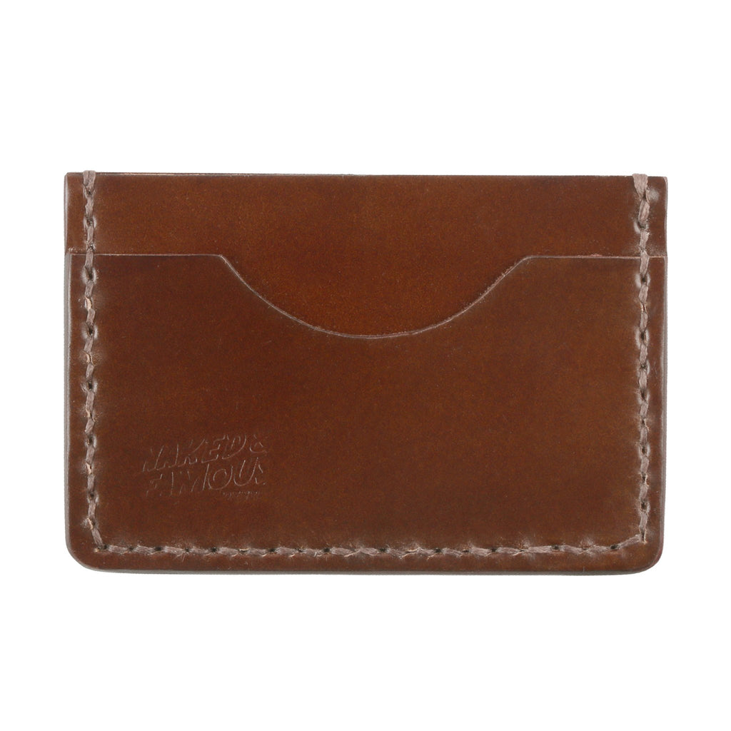 Shell Cordovan Leather Card Case - Brown