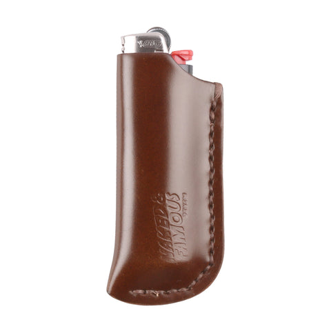Shell Cordovan Leather Lighter Case - Brown