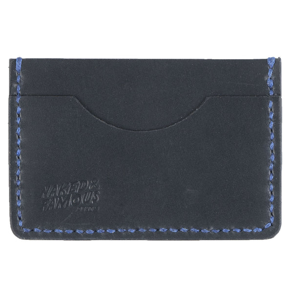 Card Case - Smooth Grain Leather - Black and Blue
