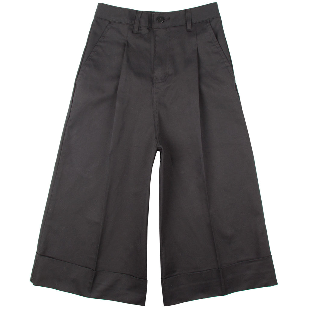 Women's - The Culottes - Black Stretch Twill Chino