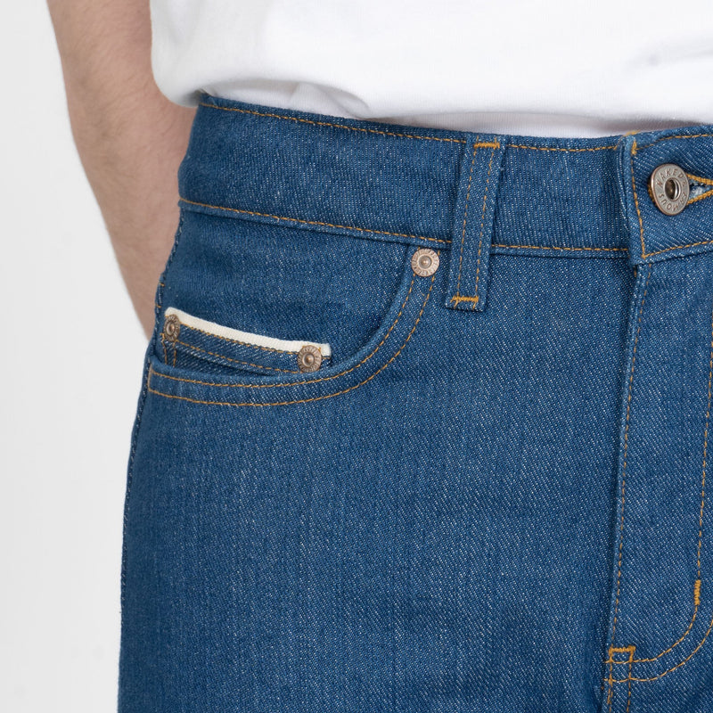 High Skinny - Island Blue Stretch Selvedge - coin pocket shot