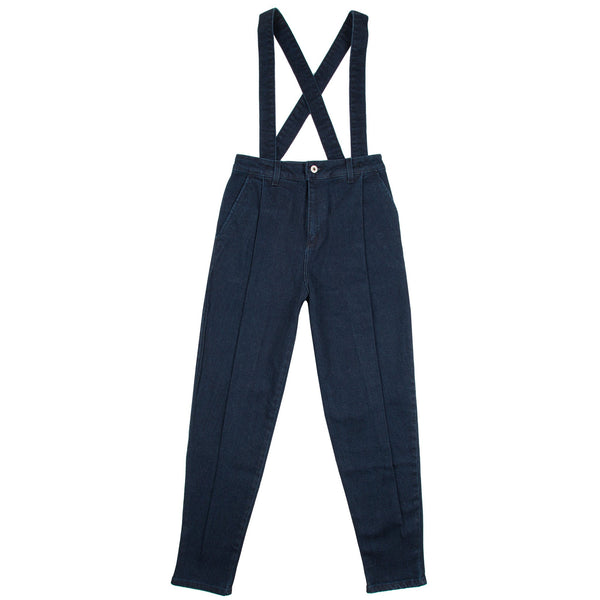 Women's - Pleated Trousers - Dark Indigo Stretch Denim | Naked & Famous Denim