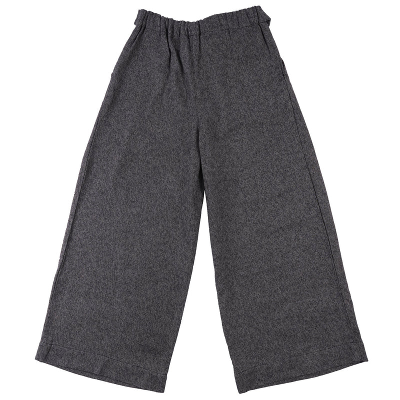 Women's Wide Pants Cotton Tweed Charcoal - back