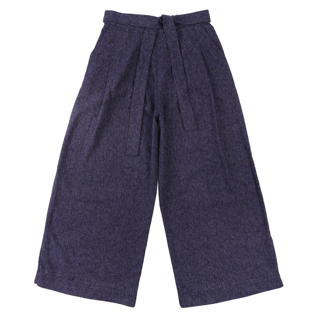 Women's Wide Pants Cotton Tweed Blue - front