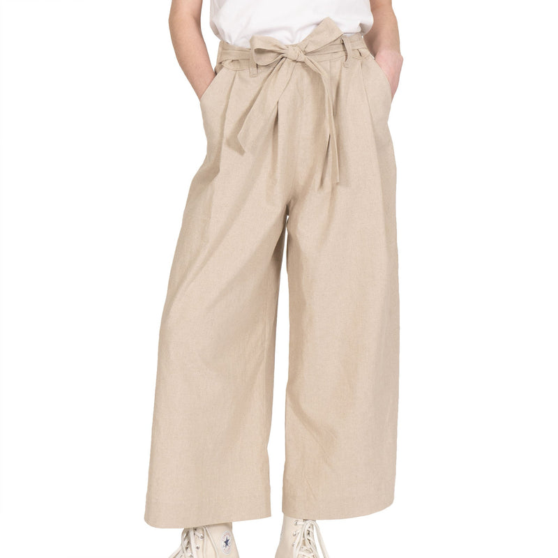 Wide Pant - Cotton / Linen Canvas - Oatmeal - front shot