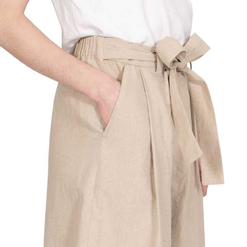 Wide Pant - Cotton / Linen Canvas - Oatmeal - side shot