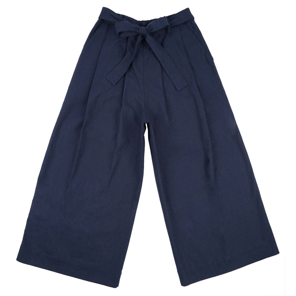 Wide Pant - Cotton / Linen Canvas - Navy - front