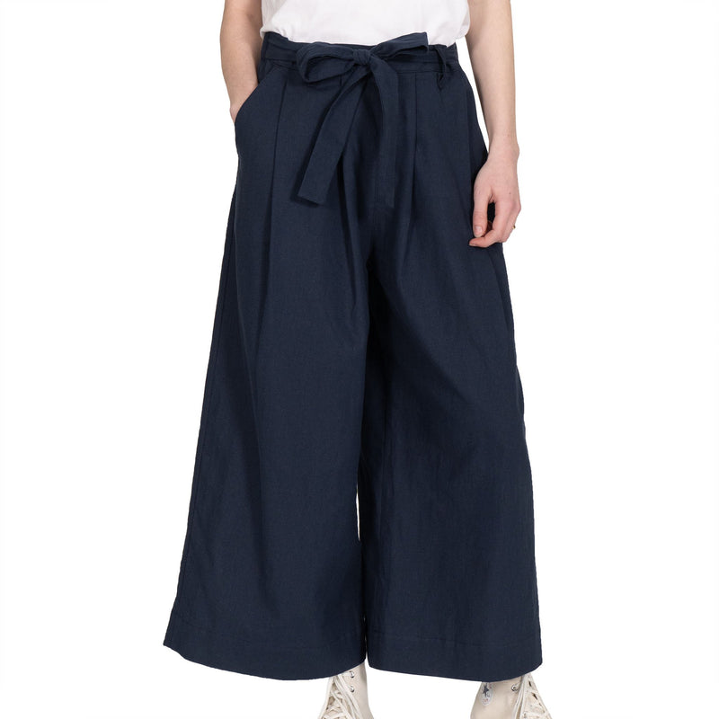 Wide Pant - Cotton / Linen Canvas - Navy - front shot