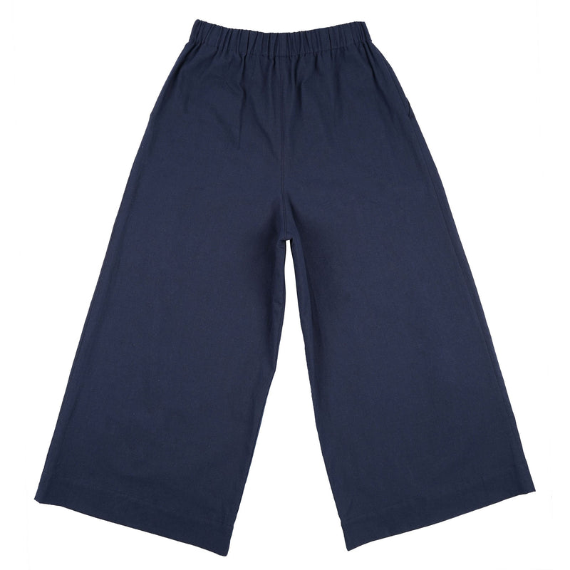 Wide Pant - Cotton / Linen Canvas - Navy - back