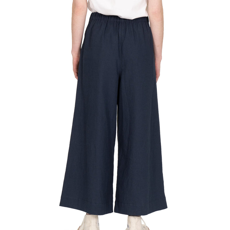 Wide Pant - Cotton / Linen Canvas - Navy - back shot
