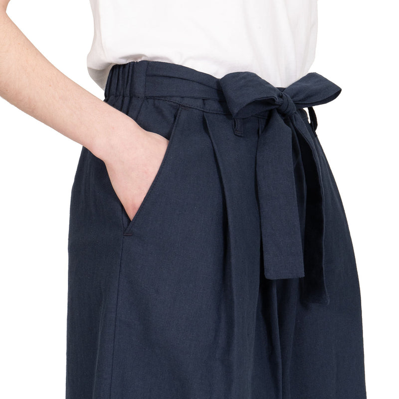 Wide Pant - Cotton / Linen Canvas - Navy - side shot