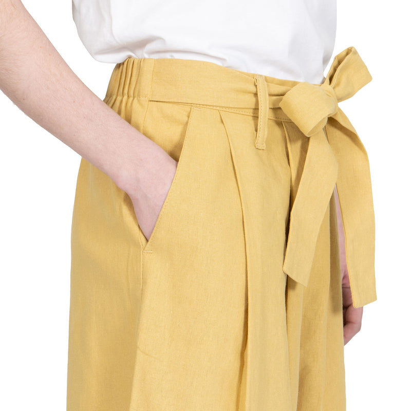 Wide Pant - Cotton / Linen Canvas - Yellow - side shot