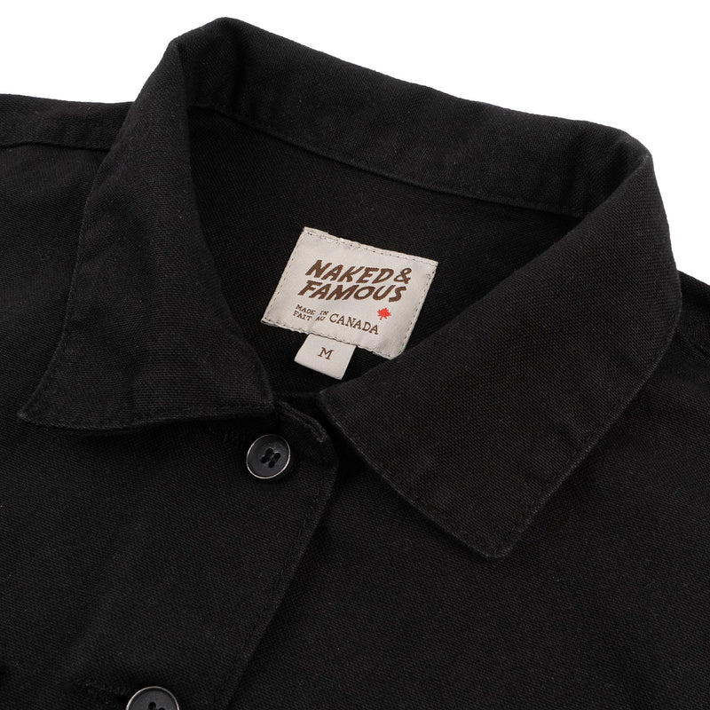 Women's - Coverall - Black Canvas - collar