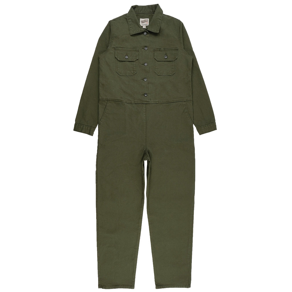 Women's Canvas Coverall Green - front