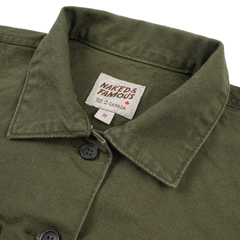 Women's - Coverall - Green Canvas - collar