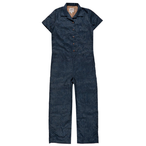 Women's - Jumpsuit - Double Jacquard Tropical - Blue