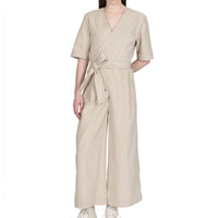 Wrap Jumsuit  - Cotton / Linen Canvas - Oatmeal - front shot