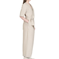 Wrap Jumsuit  - Cotton / Linen Canvas - Oatmeal - side shot