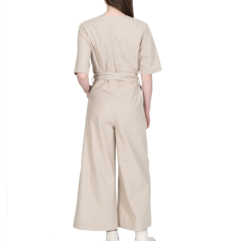 Wrap Jumsuit  - Cotton / Linen Canvas - Oatmeal - back shot