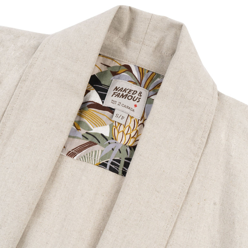 Overcoat - Cotton / Linen Canvas - Oatmeal - collar