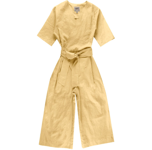 Wrap Jumpsuit - Cotton / Linen Canvas - Yellow - front