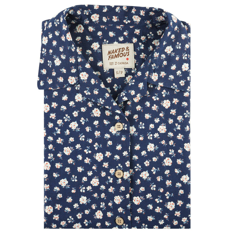 Women's - Camp Collar Shirt - Indigo Romantic Flowers - front collar view