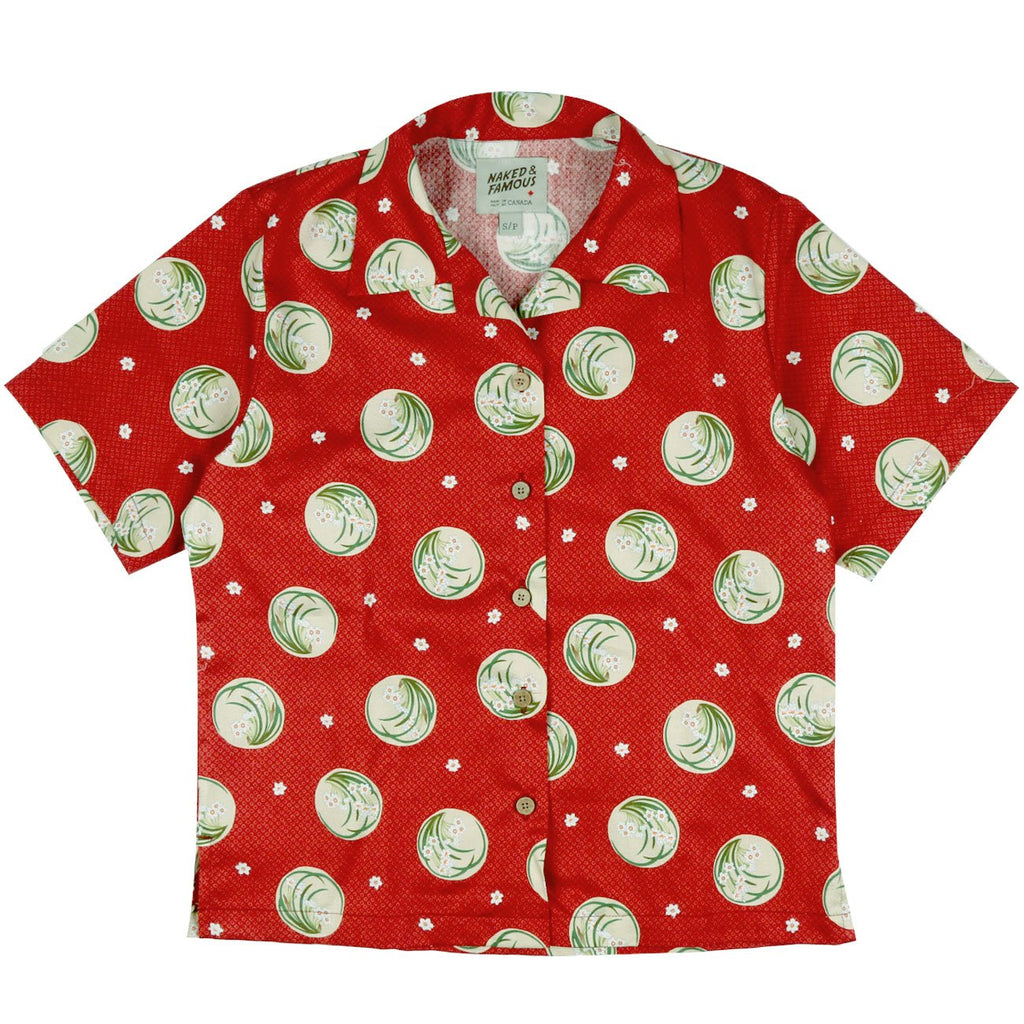 Women's - Aloha Shirt - Japanese Springtime - Red | Naked & Famous Denim