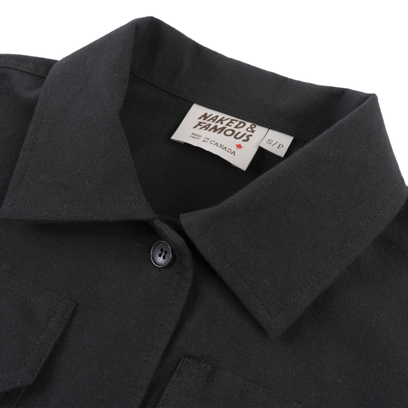 Women's Utility Shirt - Soft Flannel - Black - collar